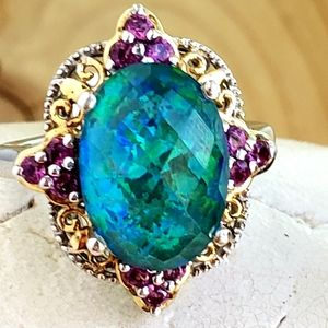 Jewelry - Large Synthetic Opal Silver Ring.